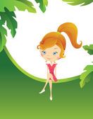 Dívka v tropech rámu — Stock vektor