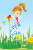 草原の妖精 — ストックベクタ