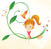 Fairy on the flower — Stock Vector