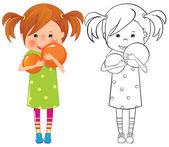 девушка с мячом - цвет и наметить иллюстрации — Cтоковый вектор