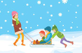 Children sledding — Stock Vector