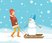 Girl and snowman on the sled — Stock Vector