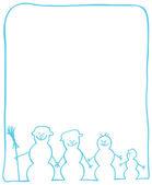 Cartolina di natale con snowmans — Vettoriale Stock