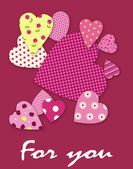 Heart of the patterns - valentine day background — Cтоковый вектор