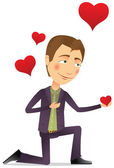 Young man with a red heart — Vector de stock