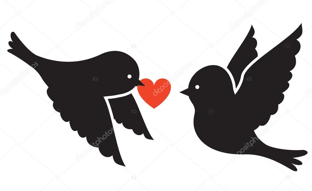 Two birds and heart  — Imagen vectorial #19550763