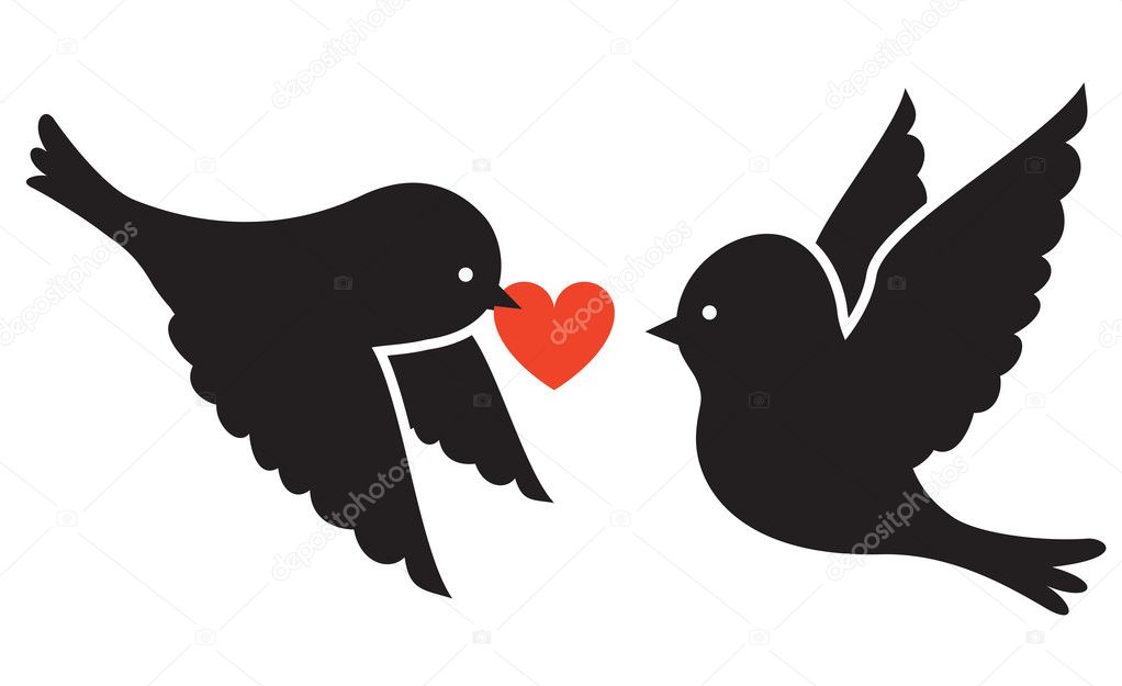 Two birds and heart  — Image vectorielle #19550763