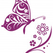 Inwrought butterfly silhouette and flower branch - Stock Vector