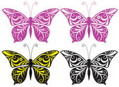 Inwrought butterfly silhouette — Vector de stock