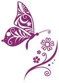 唐草模様の蝶のシルエットと花の枝 — ストックベクタ