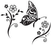Inwrought butterfly silhouette and flower branch — Stockvektor