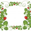 Strawberry floral frame — Stock Vector