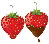 Strawberry in chocolate — Stock Vector