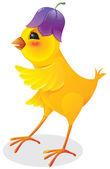 Chicken with flower cap — Stock Vector
