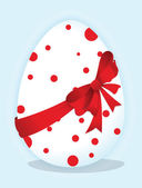 Funny eggs with a red bow — Stockvektor