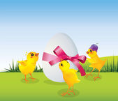 Chickens and egg on meadow — Stock Vector