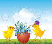 Chickens and floral egg on meadow — Stock Vector