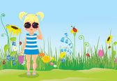 サングラス、芝生の上で少女 — ストックベクタ
