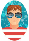 Man and reflection in sunglasses — Stock Vector