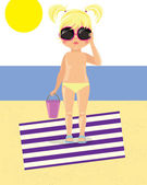 Girl in sunglasses on the beach — Stock Vector
