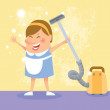 Stock Vector: Cleaning woman
