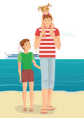 A man with little girl and boy on beach — Stock Vector