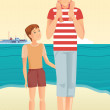 Man with little girl and boy — Vector de stock