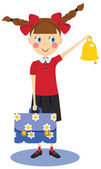 Schoolgirl with briefcase and bell — Stock Vector
