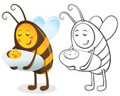 Bee mother and child — Vector de stock