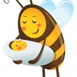 1669 - Bee mother and child — Vector de stock #28101949