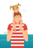 Man with little girl — Stock Vector