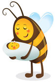 1669 - Bee mother and child — 图库矢量图片