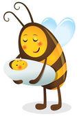 1669 - niño y su madre abeja — Vector de stock