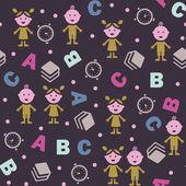 Girl, boy and ABC — Stock Vector