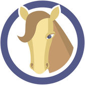 Horse's head in circle — Vector de stock