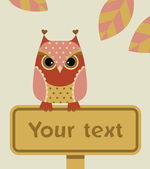 Owl with a sign — Stock Vector
