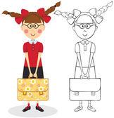 Schoolgirl with briefcase — Stockvektor