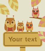 Owl with sign — Stock Vector