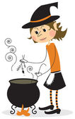 1728 - Witch and cauldron — Stock Vector