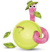 Little worm and apple — Stockvektor