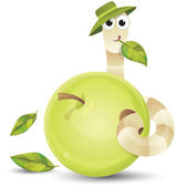 Little worm and apple — Vector de stock