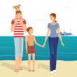 Happy family on the beach — Vector de stock