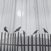 Halloween background with ravens on fence — Vector de stock