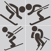 Downhill skiing icons — Vector de stock