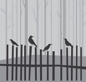 Halloween background with ravens on fence — Stock Vector