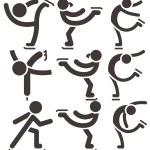Figure skating icons set — Stock Vector