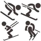 Downhill skiing icons set — Stock Vector
