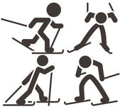 Cross-country skiing icons set — ストックベクタ