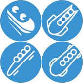 Bobsled icons set — Stock Vector