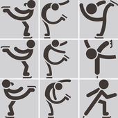Figure skating icons set — Stock Vector
